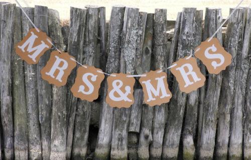 MRS /& MRS Lesben Rustikale Hochzeitsfeier Bunting Banner Decor Foto