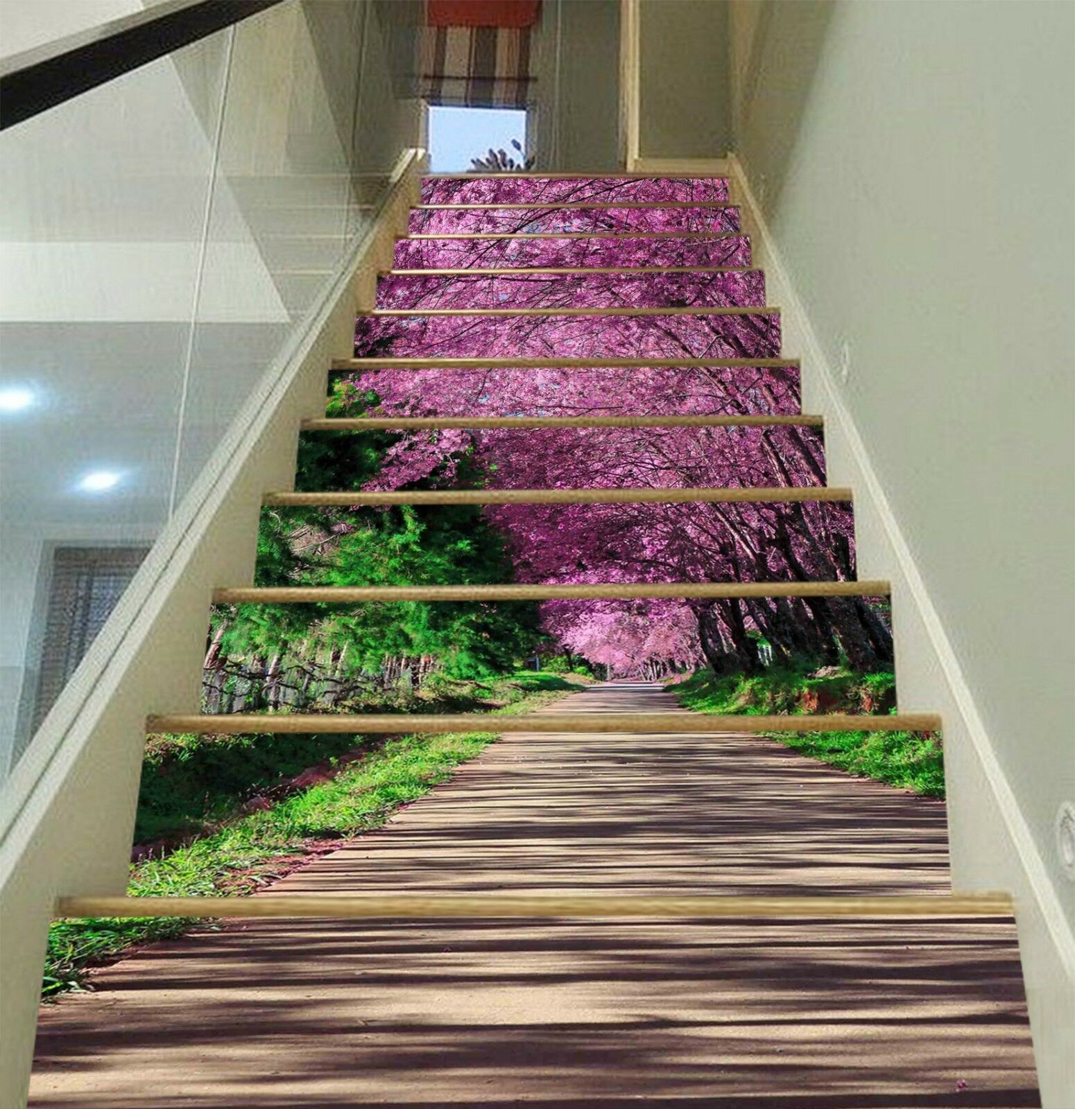 3D Trees Flowers 3 Stair Risers Decoration Photo Mural Vinyl Decal Wallpaper CA