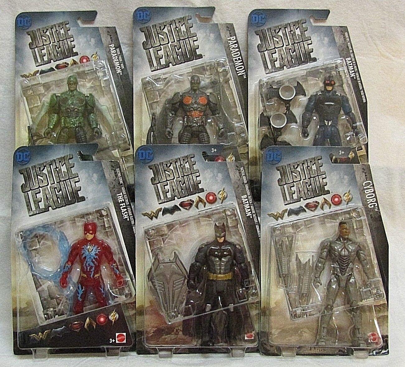 DC JUSTICE LEAGUE azione cifra Set Batuomo, Flash, Cyborg, parademoni Set di 6