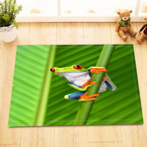 Image Is Loading Green Leaves Frog Bathroom Floor Mat Rug Non