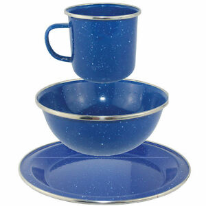 Image Is Loading Camping Blue Enamel Cook Dining Set Mug Bowl