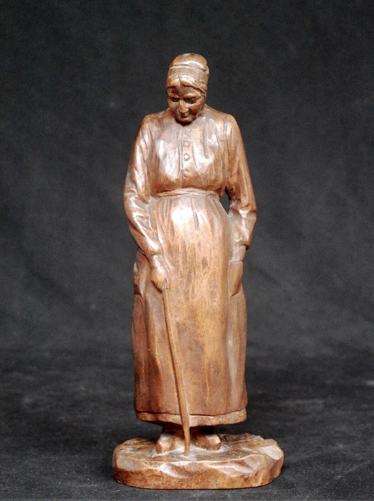 AUGUSTE BIAGGI : VIELLE BERRICHONNE, Sculpture bois, Editions SAS années 30