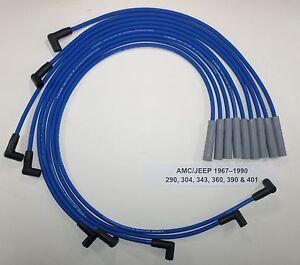 AMC//JEEP 1967-1990 290,304,343,360,390 /& 401 BLACK HEI 8mm SPARK PLUG WIRES USA