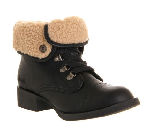 Bottines femme blowfish karona cheville bottes noir rabat taille 3 neuf £ 18.. 99