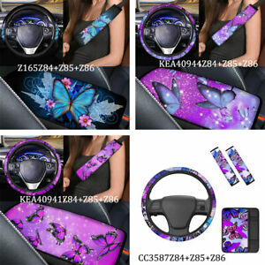 Butterfly Car Steering Wheel Cover+Seat Belts Pads /Armrest Pad Cover 5 Pack Set