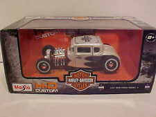 1929 Ford Model A Hot Rod Die-cast Car 1:24 Maisto 7 inch Harley Davidson White