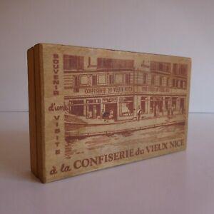 Boite souvenir visite Confiserie du Vieux Nice vintage bois déco design N4713