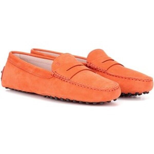 Tods Gommino Orange Suede Driver Loafers size 8