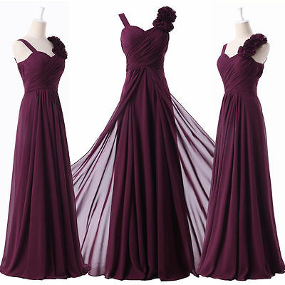 Long Purple Evening Formal Party Ball Gown Prom Bridesmaid Dress6 8 10 12 14 16+
