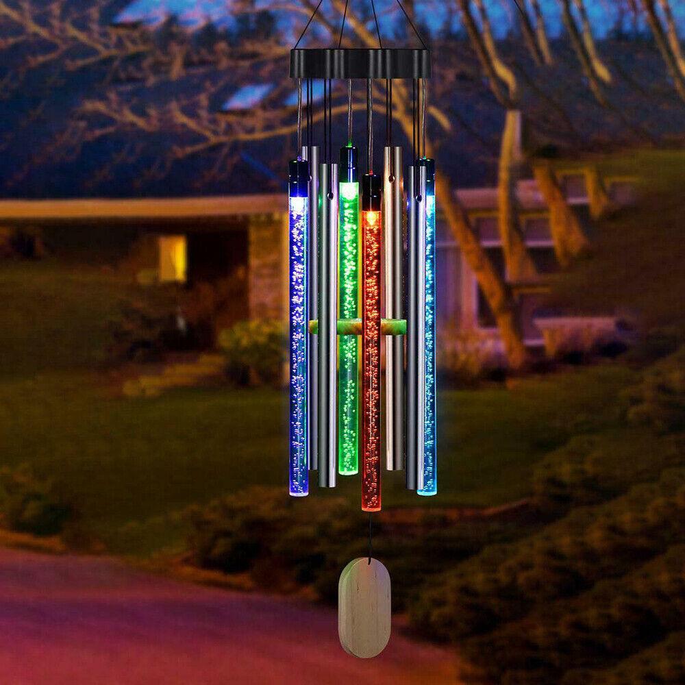 Solar Powered Colour Changing LED Hanging Wind Chime Glass Tube Lights Decor UK