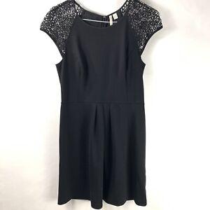 LC-Lauren-Conrad-Size-12-Dress-Fit-amp-Flare-Crochet-Short-Sleeve-Black-Stretch