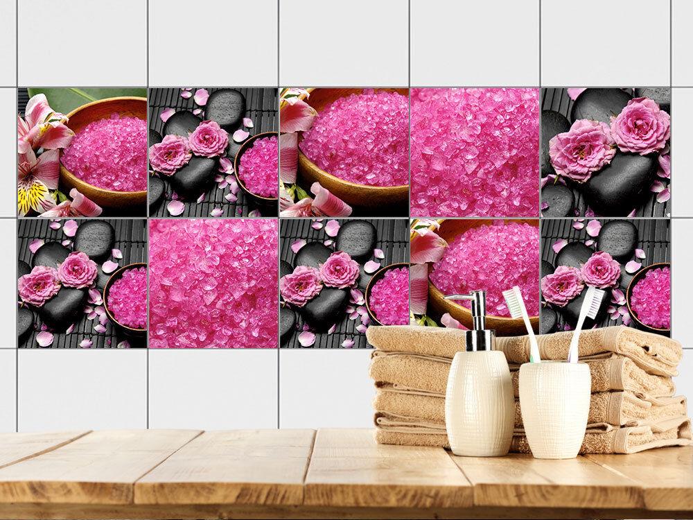 Adesivo piastrelle immagine piastrelle motivi per bagno rosa