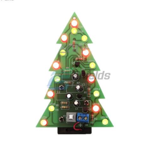 DIY Kit Christmas Trees LED Circuit Red Green Flash Light Electronic Suit