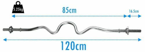"BodyRip Standard Super Curl Barbell Bar 120cm 1/"" EZ Grip Spinlock Collars Gym"