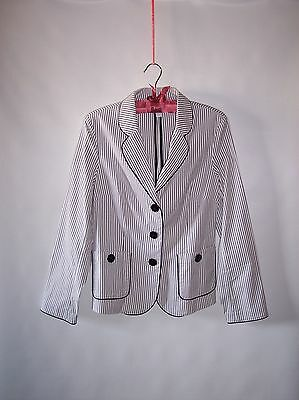NWOT Talbots Stretch Womens Striped  Cotton Blend White Blazer Jacket Size 10