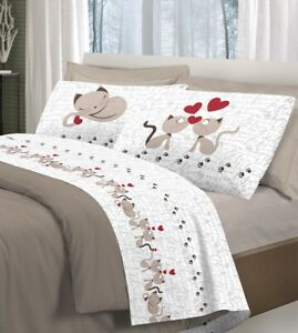 bellezza colori e suggestivi bel design Dettagli su Completo letto lenzuola, stampa digitale Gattini 100% cotone,  made in italy