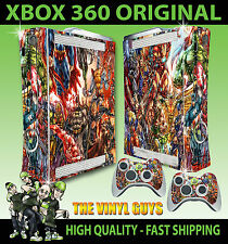 XBOX 360 STICKER MARVEL DC ACTION HERO SUPERHEROES SKIN & 2 CONTROL PAD SKINS
