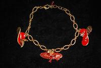 Avon 2004 Fancy red Hat Charm Bracelet (nib) (s5857)