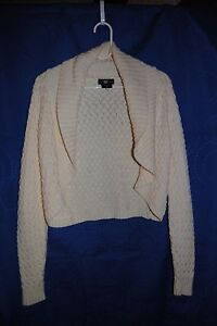 Womens-ITS-OUR-TIME-Off-White-Cropped-Cardigan-Sweater-Size-M