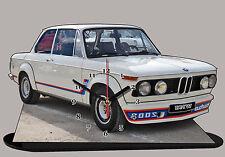 VOITURE , BMW 2002 tii Blanc-01  en HORLOGE MINIATURE