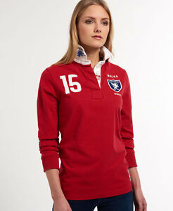 51ecd1898c6 Image is loading New-Womens-Superdry-Valiant-Rugby-Shirt-Lions-Red