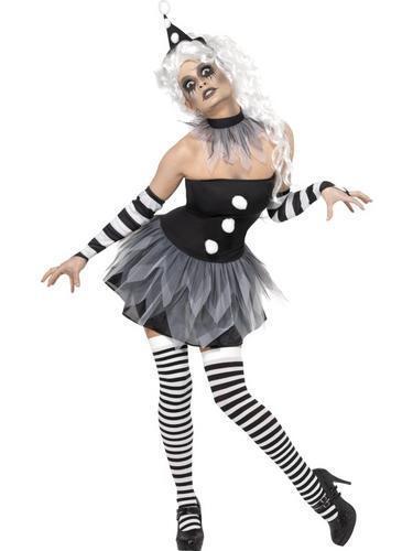Stockings Ladies Halloween Fancy Dress Circus Womens Costume Sinister Clown