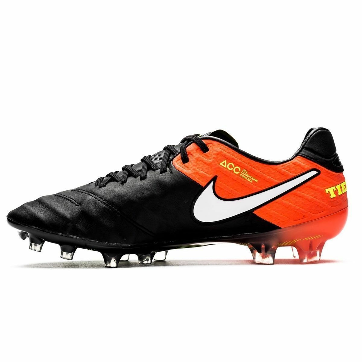 New Nike Men Tiempo Legend Vl FG Soccer Cleats Black/White/Orange 819177-018 ***