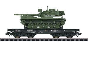 Maerklin-H0-48799-Schwerlastwagen-der-DB-034-beladen-mit-Kampfpanzer-M-48-034-NEU-OVP