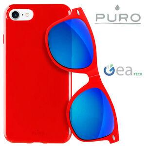 PURO-Sunny-Kit-Custodia-Plasma-Cover-per-iPhone-7-Occhiali-da-Sole-UV400-Rosso