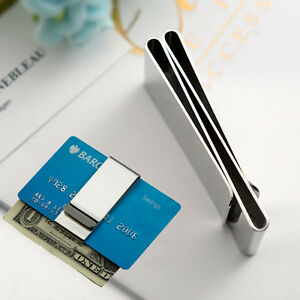 NEW-Stainless-Steel-Money-Clip-Silver-Metal-Pocket-Holder-Wallet-Credit-Card