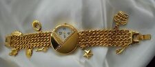 Futura Quartz Watch Fashion Bracelet Chain Links with Charms Gold Tone Crystals