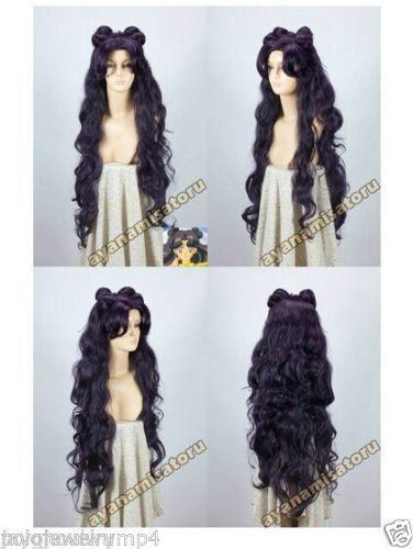 Cosplay wig Long Curly Purple Black Fashion Wig Sailor Moon Luna Artemis wig&743