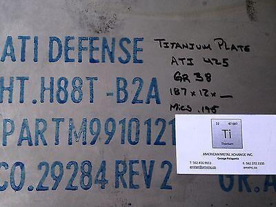 """0.125/"""" x 6.5/"""" x 12/"""" ATI 425// Grade 38 Titanium Armor Plate"""
