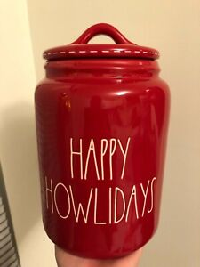 RAE-DUNN-034-HAPPY-HOWLIDAYS-034-Red-Canister-Pet-Christmas-Brand-New