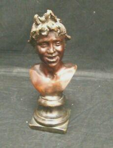 Antike-Kleine-Bronze-Klein-Bueste-Faun-Figur-Statue-Bronze-Mito