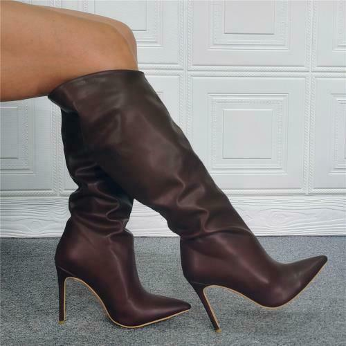 Details about  /Womens Ladies Stiletto High Heels Boots Pointed Knee Thigh High Shoes Clubwear L