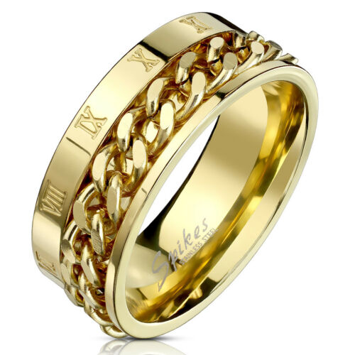 Rings Roman Numeral Spinner Chain Gold IP Stainless Steel Ring R693