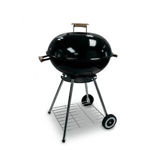 Barbecue-a-Carbonella-Con-Ruote-Tondo-56-cm-Struttura-in-Acciaio-Nero