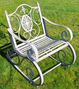 Victorian Antique Grey Rocking Chair Wrought Iron Garden