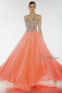 NWT-Size-4-PROM-ball-gown-Alyce-Designs-1023-New-Coral-Iridescent-jewels