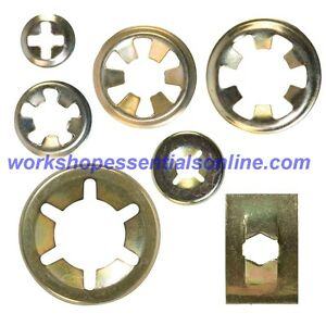 WEO Flat Clips Steel Push On Starlock Washers Round /& Rectangle Round 3//8 Pack of 10 10.0 mm