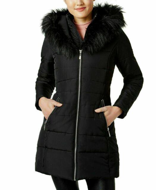 New Maralyn & Me Women's Faux-Fur Trim Hooded Puffer Jacket Black Size M