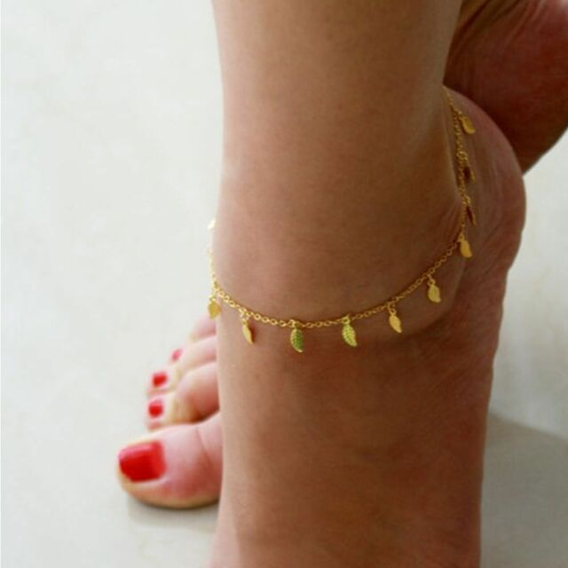 Chic Gold Ankle Bracelet Women Leaf Adjustable Foot Jewelry Anklet Beach Chain