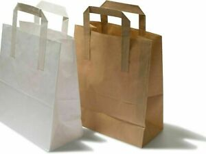 Brown & White Kraft Paper Party Gift Eco SOS Food Carrier Bags With Flat Handles