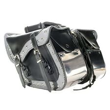 "14"" W MOTORCYCLE WATERPROOF CHROME PLATE STUDDED SADDLEBAGS FOR HONDA - HDA14"