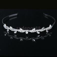 Crystal Diamate Leaf Flower Girl Headband Bridesmaid Bridal Tiara Headpiece