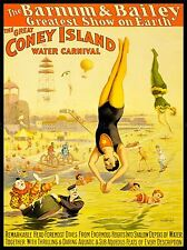 CIRCUS BARNUM BAILEY CONEY ISLAND WATER CARNIVAL CLOWN DIVE USA POSTER LV1362