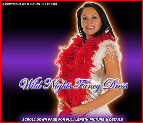 GOLD FEATHER BOA FANCY DRESS ACCESSORIES DELUXE RED