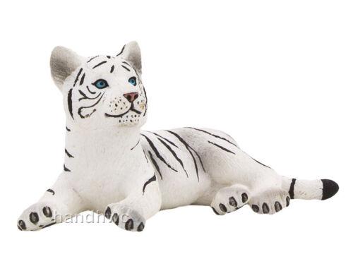 Mojo Fun 387015 White Tiger Cub Lying NIB Wildlife Zoo Animal Toy Figurine