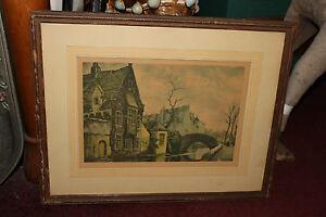 Antique Color Etching Print Brudge Bruge European Village Water Bridge Framed